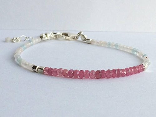 JP_Beads Pink Sapphire, morganite and Sterling Silver Beaded Bracelet Natural Gemstone Jewellery/Jewelry, Boho Chic 3-4mm