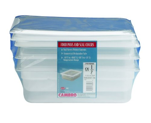Cambro Set, 6.3 QT, 3 Pack, Translucent Food Pans and Seal Covers, 1/2 Size, 4 Inch Deep by Cambro