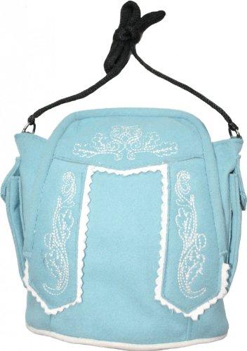 Damen Handtasche Trachtentasche Dirndl Taschen Trachten Leder-Imitat, Frabe:Hellblau