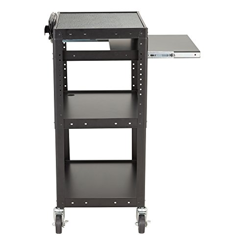 Norwood Commercial Furniture Adjustable Height Metal AV Cart with Electric Power & Sliding Tray, NOR-GNO1009-PK-SO by Norwood Commercial Furniture (Image #4)