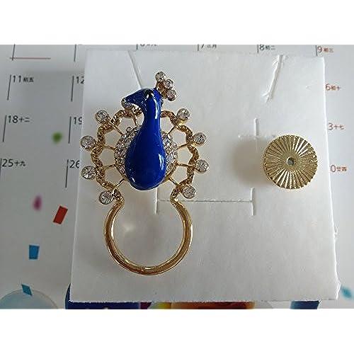 d1c45fb9375a SENFAI Blue Crystal Peacock Magnetic Clip Holder Eyeglass Holder Brooch  Jewelry