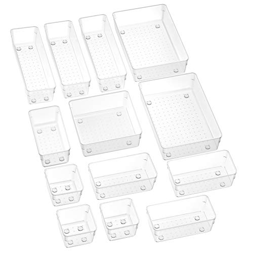 SMARTAKE 13-Piece Drawer Organizers with Non-Slip Silicone Pads, 5-Size Desk Drawer Organizer Trays Storage Tray for…