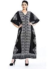 Goood Times Black and White Plus Size Kaftan Dress Tunic Long Maxi Kimono Caftan Gown Beach Dress