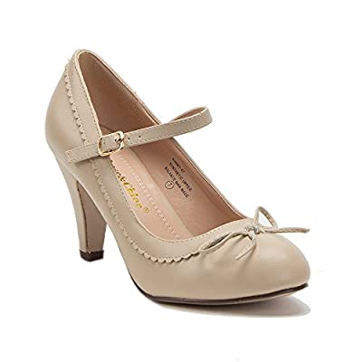 Chase & Chloe Kimmy-21 Women's Round Toe Pierced Mid Heel Mary Jane Style Dress Pumps (9 (B)M US, Nude Bow)