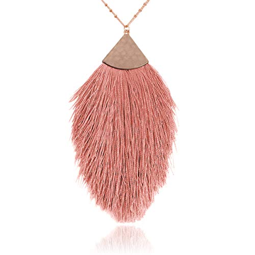 RIAH FASHION Antique Bohemian Silky Thread Fan Tassel Statement Necklace - Vintage Gold Feather Shape Strand Fringe Lightweight Long Chain (Feather Fringe - Dusty Pink)