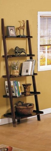 Five-tier Cappuccino Leaning Ladder Style Magazine Book - Rack Cappuccino Magazine