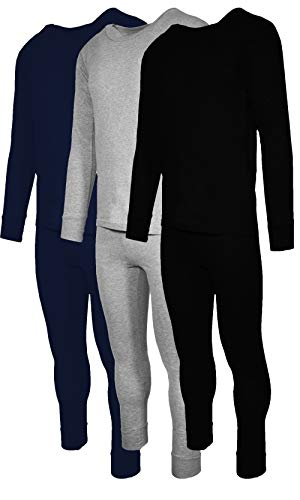 (Andrew Scott Mens 6 Piece Set Base Layer Long Sleeve + Long Pant Thermal Underwear Set (1 & 3 Pack Mix Match Options) (Small, 3 Sets/6 Piece -)