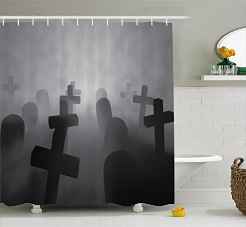 Ambesonne Horror House Decor Shower Curtain by, Render of a