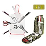 Camping Cookware Set Travel Cooking Utensils 7 Piece Portable BBQ Camp Stainless Steel Kitchen Ware with Case for Daily Cooking,Travel,Picnics,RV Trip,Camping,Hiking,BBQs,Garden Party