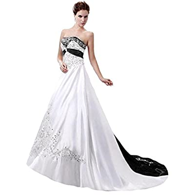 Edaier Women's Court Train Satin Wedding Dress Bride Gown at Women's Clothing store