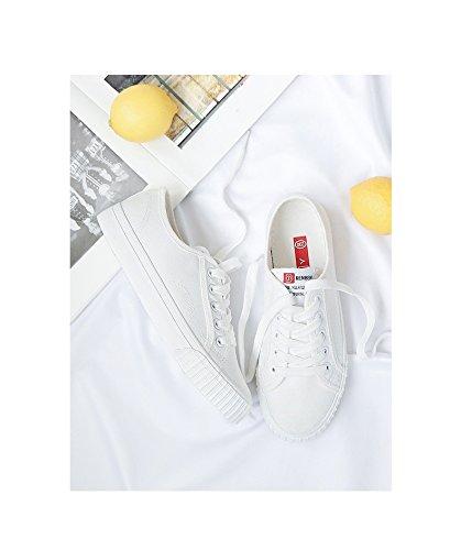 Chaussures Sport White Étudiants Chaussures Filles Espadrilles Casual Chaussures Blanc Chaussures Koyi Chaussures Femmes de Plates Chaussures Toile qwg4xgaBZv