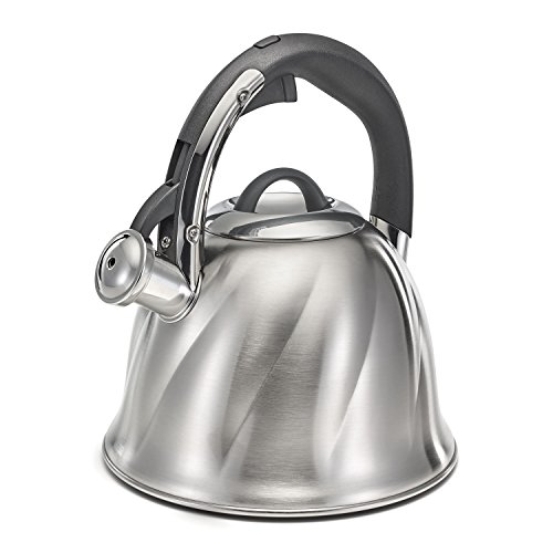 Encapsulated Base (Polder KTH-133-47 Bell Whistling Tea Kettle, 2.6-Quart, Brushed Stainless Steel, 3-Ply Encapsulated Base Heats Water Fast)