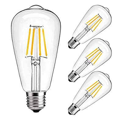 LED Edison Bulb,6w Dimmable Led Light Bulb, 6W Vintage LED Filament Light Bulb, st64 led Bulb,2700K Soft White,e26 led Bulb, Clear Glass Cover, 4 Pack