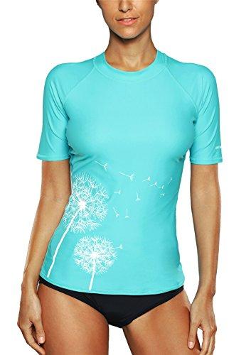 Vegatos Women's Basic Skins UPF 50+ Short Sleeve Rash Guard Aqua L by Vegatos