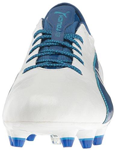 Scarpe da calcio Evotouch 2 FG da uomo, Puma White-True Blue-Blue Danube, 7 M US