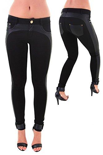 Moderne Hose mit Kunstledereinsatz SCHWARZ