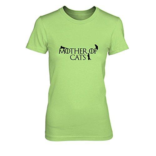 Mother of Cats - Damen T-Shirt, Größe: XL, Farbe: hellgrün
