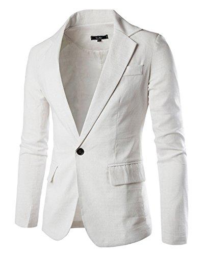 Homme Formel Slim Veste Un Costume Fit Blazer Jacket Bouton Blanc qWY5S7w5