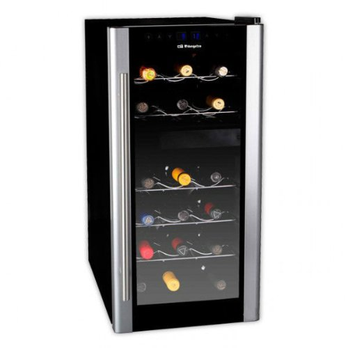 Orbegozo VT 1800 Vinoteca de 18 Botellas con Display Digital, Metal, Negro