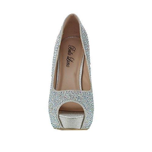 Glitter 01 Silver Heels Luna Rhinestone Belle Toe Womens Stiletto Platform Peep Bella IHBFxRI