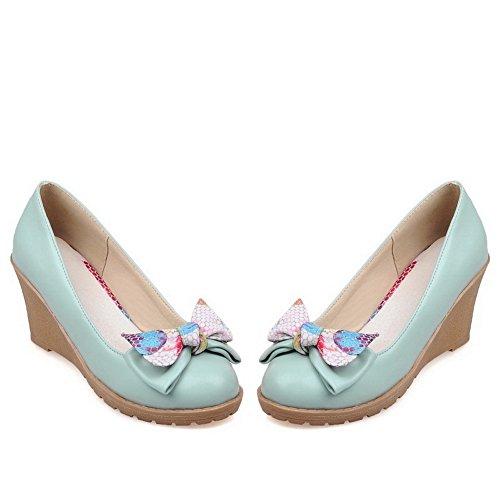 Balamasa Donna Filato Bowknot Oro Tomaie Basse Tinta Tinta Unita Fondo Tacco Scarpe In Pelle Imitato-scarpe Blu