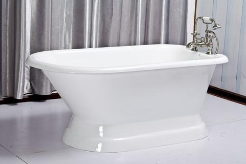 """60"""" roll top cast iron tub on a pedestal 7"""" rim holes - """"Tabitha"""""""