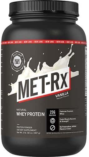 MET-Rx Natural Whey Protein Powder, Vanilla, 2 lb, Easy Mix Protein Powder, 23 g Protein, 5g BCAAs from Ultra Filtered Whey Protein, for Pre/Post Workout, Gluten Free