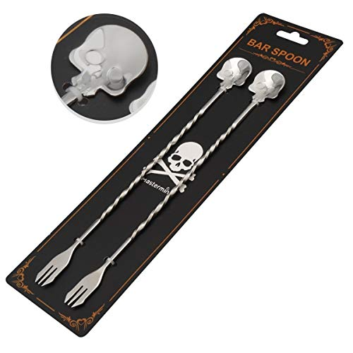 Cocktail Skull Spoon With fork,18/10 Stainless Steel Spiral Pattern Cocktail Shaker Muddler and Mixing Spoon for Bar/Bartender,Steel Twisted Bar Spoon Pro Stirrer Whisk Mixing Tool,9.8 Inches,2 Pcs -