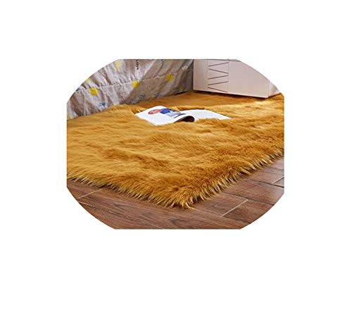 Washable Artificial Wool Carpet Rectangle/Square Garnish Faux Mat Seat Pad,Yellow Camel,50x50cm