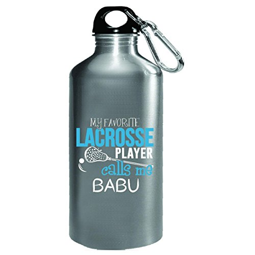 My Favorite Lacrosse Player Calls Me Grandpa Babu - Water Bottle by My Family Tee