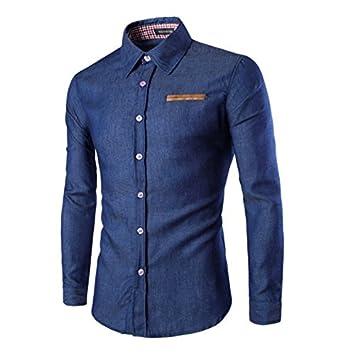 MAYUAN520 Camisa de Hombre Mens Hombres Camiseta Manga Corta Cardigan - Azul Oscuro,XXXL: Amazon.es: Deportes y aire libre
