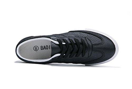 Zapatos 38 37 Diaria PU Plano Corriendo Estaciones Retro Casual BLACK Escuela Estudiantes Zapatos Señora Bottom XIE Tres Movimiento Colores HaYxUU