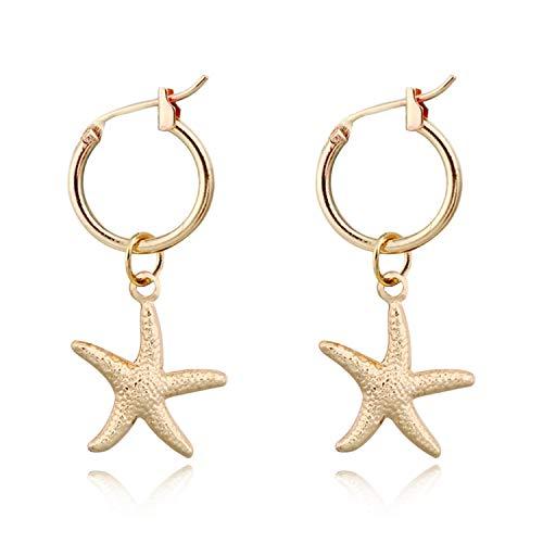 1Pair Cute Small Fish Starfish Snails Hoop Earring Women Personality Gold Color Mini Animals Pendant Circle Earring Jewelry E314,hai xing