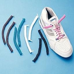 Spyrolaces Spiral Shoelace Solution/Who Lack Fine Motor Skills, White No Latex, 1 ea