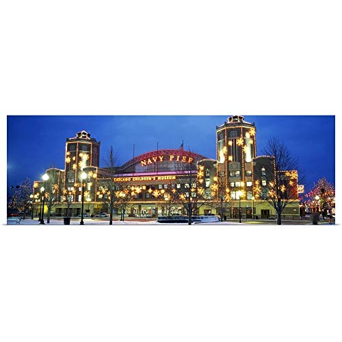 GREATBIGCANVAS Poster Print Entitled Facade of a Building lit up at Dusk, Navy Pier, Chicago, Illinois by 60