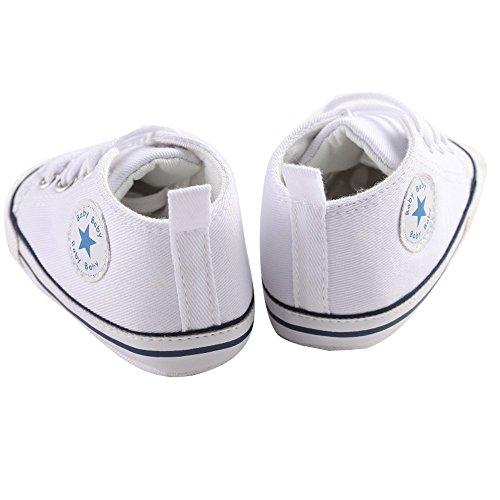 waylongplus Infant Cute Lienzo zapatillas de bebé prewalker antideslizante suave zapatos de entrenamiento rosa rosa Talla:12(6-12 meses) blanco