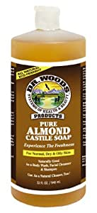 Dr.Woods Pure Almond Castile Soap, 32-Ounce (Pack of 12)