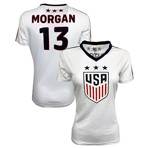 USA Morgan Soccer Jersey for Women and Girls, Official US Morgan Number 13 Training Jersey (Adult Large) White