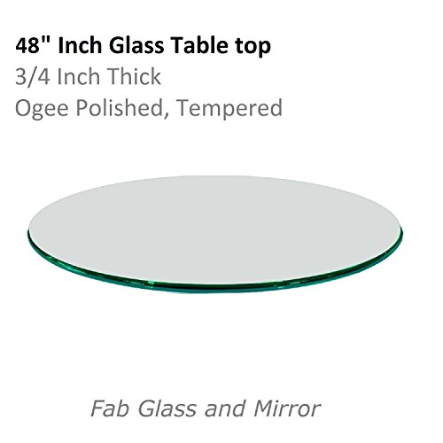Fab Glass and Mirror Table Top, 3/4'' Thick, Ogee Tempered, Round, 48'' L by Fab Glass and Mirror