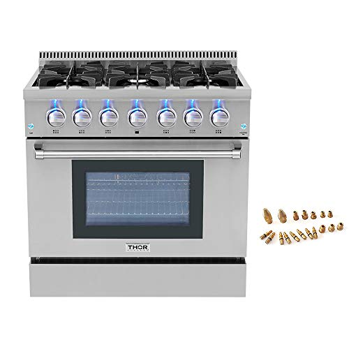 36″ Pro-style 6 Burner Gas Range + LP Conversion Kit Bundle