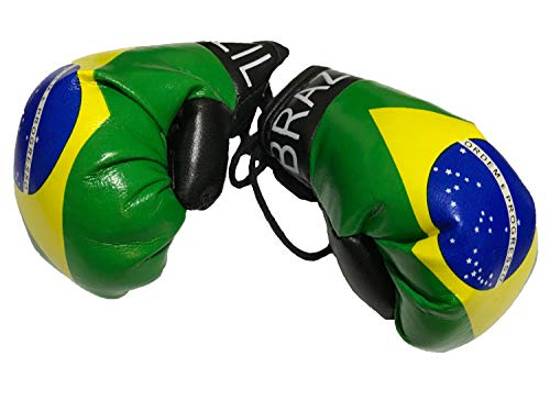 Flag Mini Small Boxing Gloves to Hang Over Car Automobile Mirror - Americas (Country: Brasil/Brazil-1) (Brazil Flag Car)