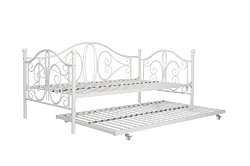 Premium Sturdy Metal Twin Size Daybed and Roll Out Trundle Combo, Perfect for Living and Bedroom (White) by DHP