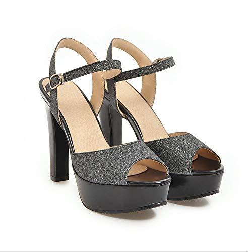 à femme avec 37 noir haute 46 creuse et haut boucle Zl paillettes à talon très sandales Bq1Pgwgd