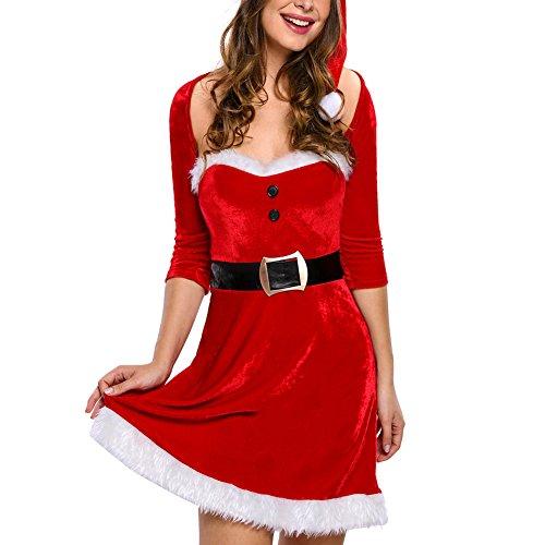 Eternatastic Women's Mrs Santa Christmas Costumes Velvet Babydoll Dress Red (Long Sleeve Plus Size Costume)