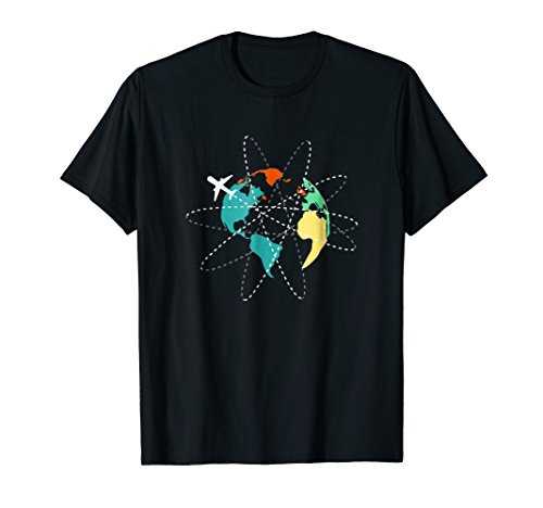Airplane traveling the world,colorful map traveler tee shirt by KH Travel shirts