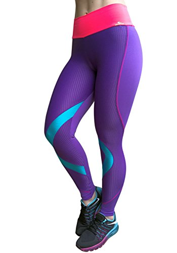 Sexy Workout Clothes, Cute Gym Fitness Leggings, Ref 5228 Purple (Medium)