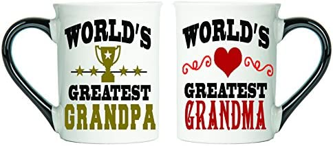 World's Greatest Grandpa & World's Greatest Grandma Mug Set, Grandma And Grandpa Gifts, Large 18 Oz Set Of Two Coffee Mugs By Tumbleweed