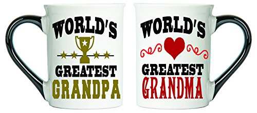 (Cottage Creek Mug Set Two Large 18 Ounce World's Greatest Grandma And World's Greatest Grandpa Ceramic Coffee Mugs/Grandma Gifts Grandpa Gifts Set of Two [White])