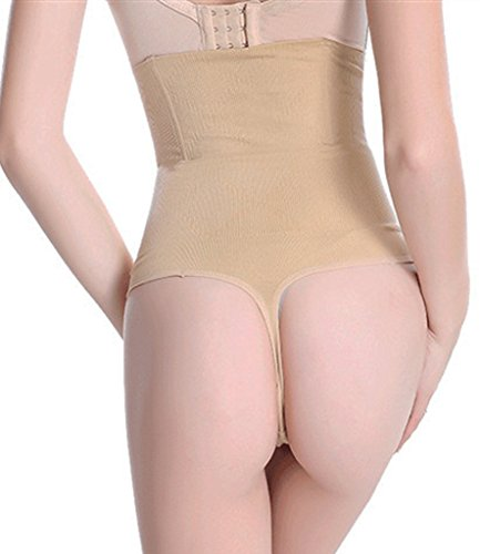 SEXYWG Women High-Waist Thong Shapewear Body Tummy Control Cincher Boyshorts,Beige,Medium/Large