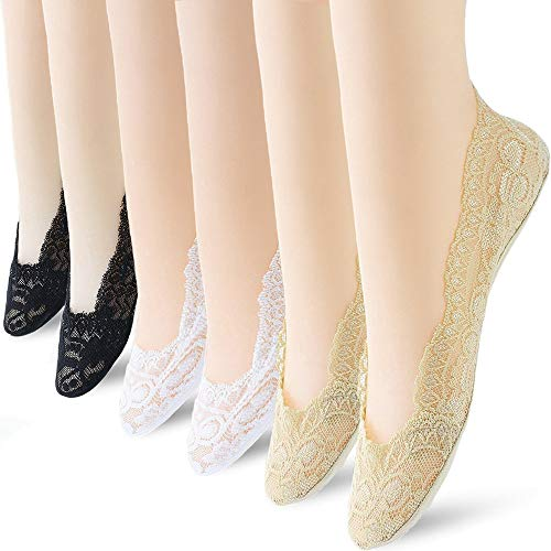 6 Pairs No Show Socks Lace Women No Show Liner Socks Womens No Show Socks, Thin Low Cut Casual Socks Non Slip(Assorted 1) ()